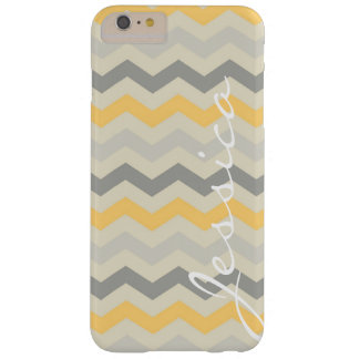 Name id gray yellow chevron zigzag zig zag pattern barely there iPhone 6 plus case
