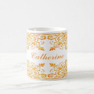 Name in an Orange Baroque Frame Classic White Coffee Mug