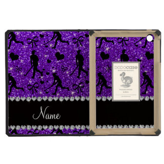 Name indigo purple glitter field hockey hearts bow iPad mini case