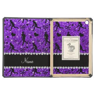 Name indigo purple glitter field hockey hearts bow iPad air case