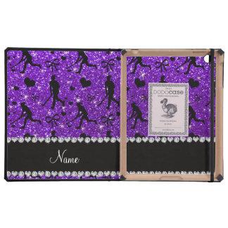 Name indigo purple glitter field hockey hearts bow case for iPad