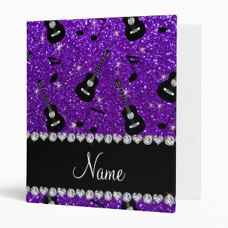 Name indigo purple glitter guitars music notes vinyl binders