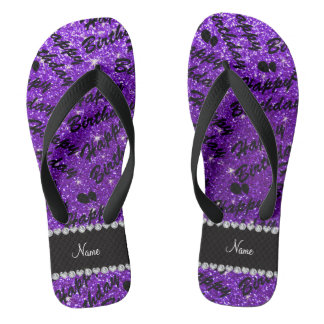 Name indigo purple glitter happy birthday balloons flip flops