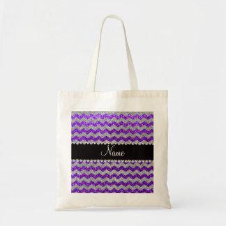 Name indigo purple silver glitter chevrons tote bag