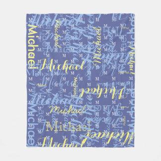 name + initial blue boys pattern fleece blanket