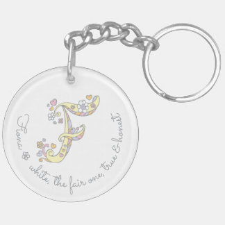 Name initial F girls personalized keychain