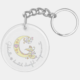 Name initial G girls personalized keychain