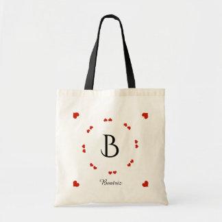name initial & hearts feminine tote bag