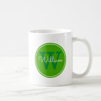 Name + Initial Inside Green Circle Coffee Mug