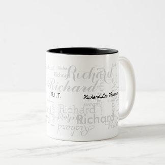 name & initials typography modern style b/w Two-Tone coffee mug