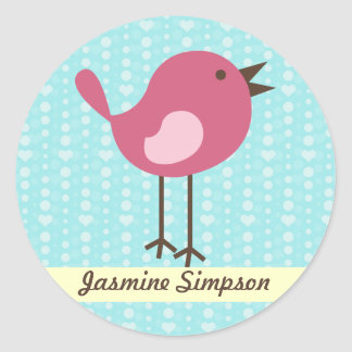 Name Labels/Stickers Pink Bird - Blue Heart Design Classic Round Sticker
