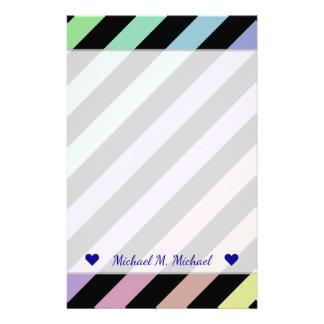 Name + Light Pastel Colors & Black Stripes Pattern Stationery