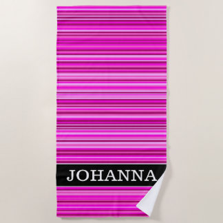 Name + Magenta and Pink Stripes/Lines Pattern Beach Towel
