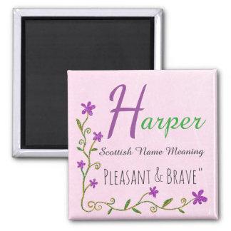 Name Magnet: Harper, Pleasant & Brave Square Magnet