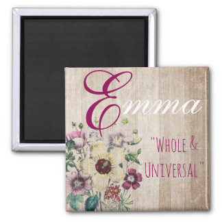 "Name Meaning Magnet, Emma ""Whole & Universal"" Square Magnet"