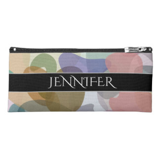 Name + Multicolored Watercolor Look Blob Pattern Pencil Case