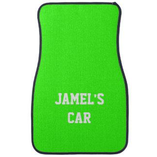 Name Neon Green Top Single Color Car Mat