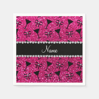 name neon hot pink glitter cocktail glass bow paper napkin
