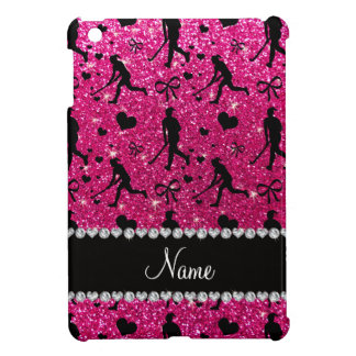 Name neon hot pink glitter field hockey hearts bow cover for the iPad mini