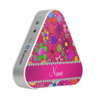 name neon hot pink glitter retro flowers bluetooth speaker