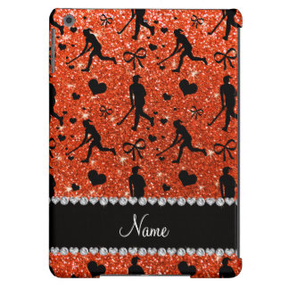 Name neon orange glitter field hockey hearts bows case for iPad air