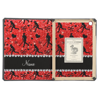 Name neon red glitter field hockey hearts bows case for iPad air