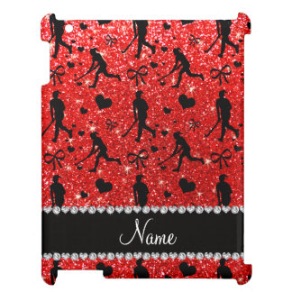 Name neon red glitter field hockey hearts bows case for the iPad