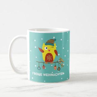 """Name + nice owl """"glad Christmas"""" German Coffee Mug"""