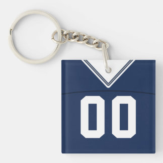 Name & Number Jersey Keyring, Football LAX Keychain