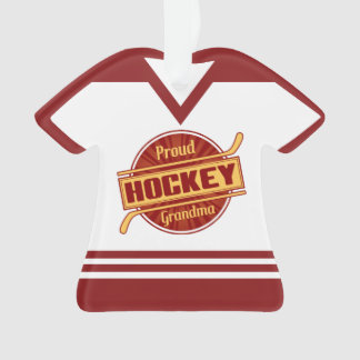 Name & Number Jersey Proud Hockey Grandma Ornament