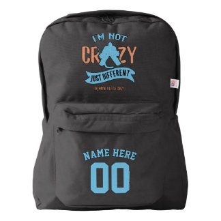 Name & Number Print Backpack Hockey Goalie
