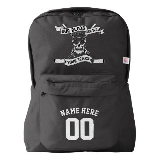 Name & Number Print Backpack Hockey Player