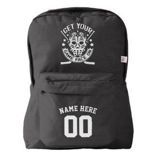 Name & Number Print Backpack Hockey Player Goalie
