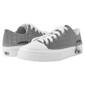 Name On Shiny Silver Metal Texture Print Low-Top Sneakers