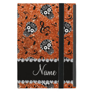Name orange glitter music notes sugar skulls case for iPad mini