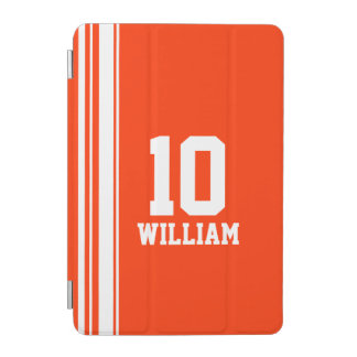 Name orange & white sport name number ipad cover