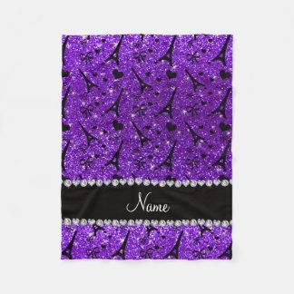 Name paris eiffek tower indigo purple glitter fleece blanket