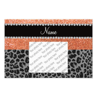 Name pastel orange glitter black leopard art photo