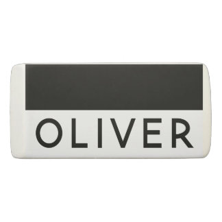 Name Personalized Lined Black and White Eraser