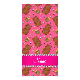Name pink bears honeypots bees pattern picture card