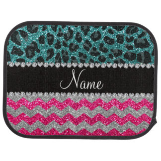 Name pink glitter chevrons turquoise leopard car mat