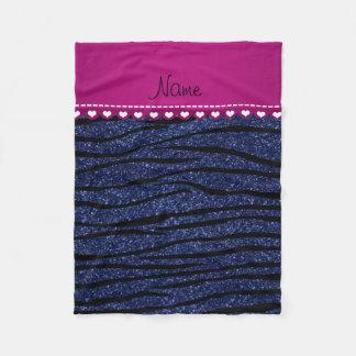 Name pink stripe navy blue glitter zebra stripes fleece blanket