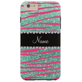 Name pink zebra stripes seafoam green glitter tough iPhone 6 plus case