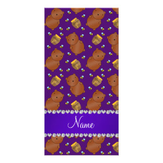 Name purple bears honeypots bees pattern customized photo card