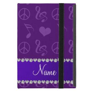 Name purple music notes hearts peace sign cases for iPad mini