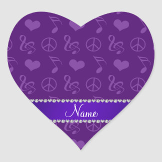 Name purple music notes hearts peace sign heart sticker
