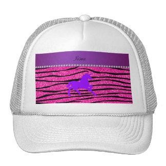 Name purple unicorn hot pink glitter zebra stripes hats