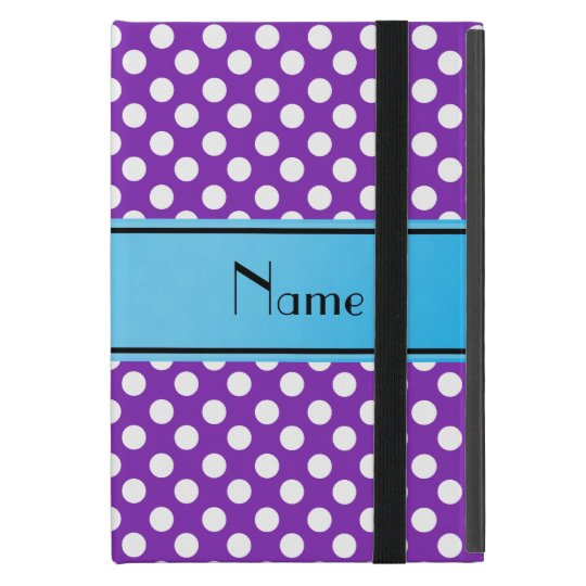 Name purple white polka dots blue stripe iPad mini case