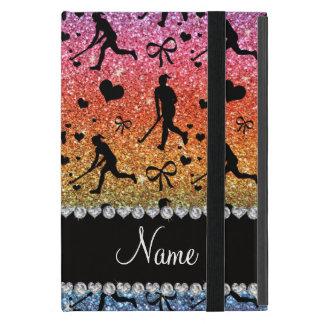 Name rainbow glitter field hockey hearts bow cover for iPad mini