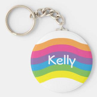 Name Rainbow Wave Basic Round Button Keychain